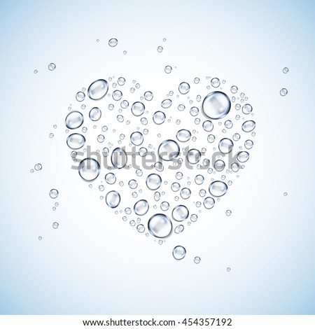 water drops heart shaped vector background - stock vector