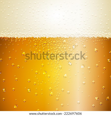 Water drops on beer background - stock vector