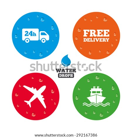 Water drops on button. Cargo truck and shipping icons. Shipping and free delivery signs. Transport symbols. 24h service. Realistic pure raindrops on circles. Vector - stock vector