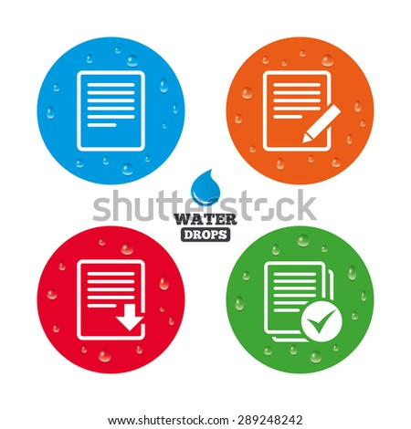 Water drops on button. File document icons. Download file symbol. Edit content with pencil sign. Select file with checkbox. Realistic pure raindrops on circles. Vector - stock vector