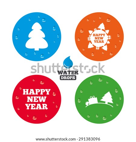 Water drops on button. Happy new year icon. Christmas trees signs. World globe symbol. Realistic pure raindrops on circles. Vector - stock vector