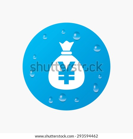 Water drops on button. Money bag sign icon. Yen JPY currency symbol. Realistic pure raindrops. Blue circle. Vector - stock vector