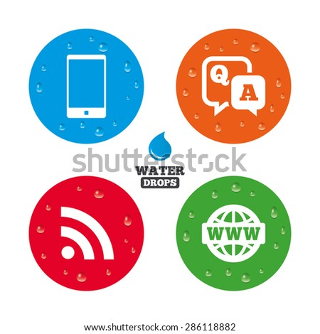Water drops on button. Question answer icon.  Smartphone and Q&A chat speech bubble symbols. RSS feed and internet globe signs. Communication Realistic pure raindrops on circles. Vector - stock vector