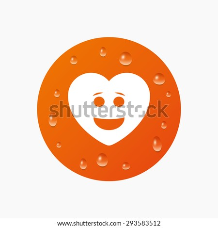 Water drops on button. Smile heart face sign icon. Happy smiley with hairstyle chat symbol. Realistic pure raindrops. Orange circle. Vector - stock vector