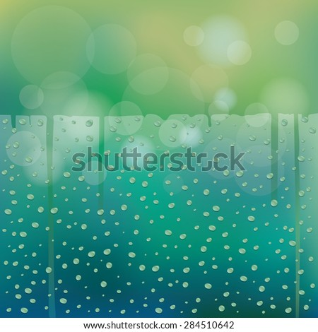 Water Drops on Glass Green Blur Background with Horizontal Space, Rainy Season, Monsoon, Rain,  - stock vector