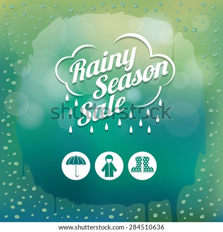 Water Drops on Glass Green Blur Background with Icons and Heading, Rainy Season, Monsoon, Rain,  - stock vector