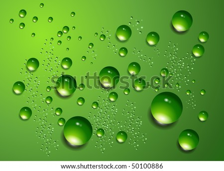 Water drops on green background, vector. - stock vector
