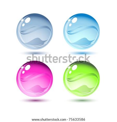 Water drops, vector - stock vector