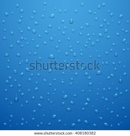 Water drops vector abstract background. Waterdrop or raindrop blue background vector illustration - stock vector