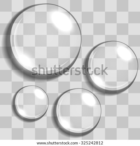 Water drops with transparency blending - stock vector
