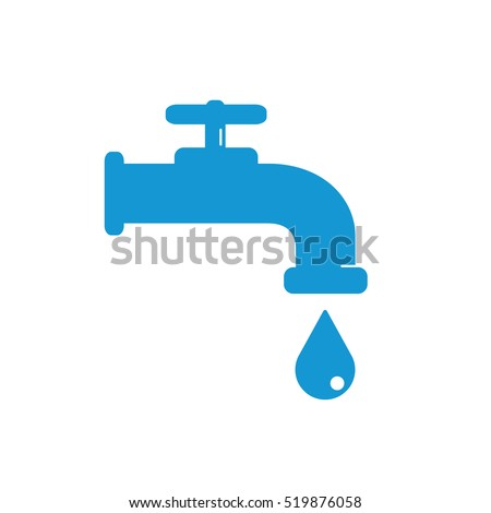 Water Faucet Drop Icon Blue Silhouette Stock Vector 519876058 ...