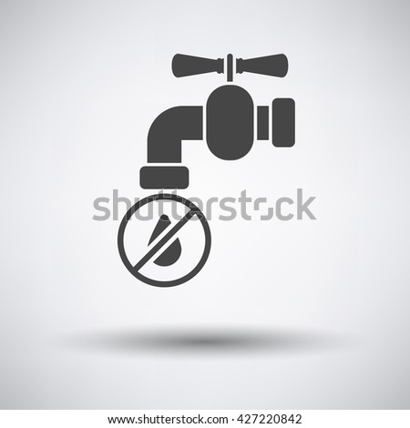 Water faucet with dropping water icon on gray background round shadow. Vector illustration. - stock vector