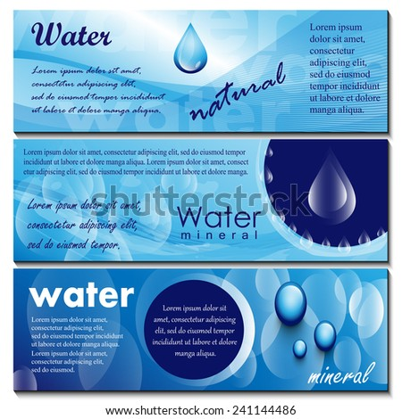 Water Flyer Template Set - Vector Illustration, Graphic Design, Editable For Your Design - stock vector