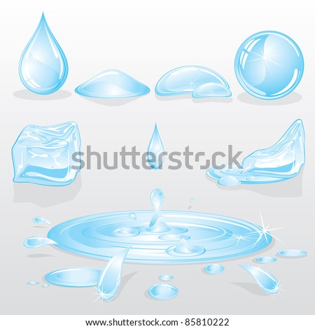 Water Forms and Drops set, nature vector design elements