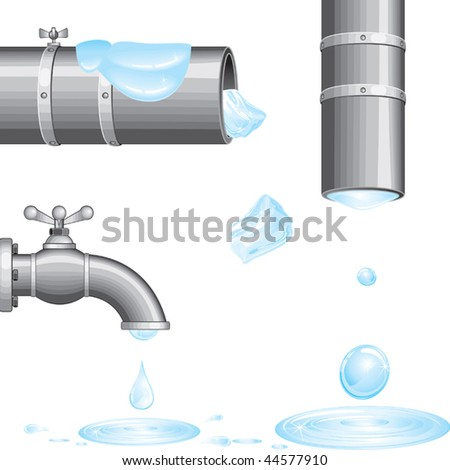 Water from faucet and pipes.Isolated vector - stock vector