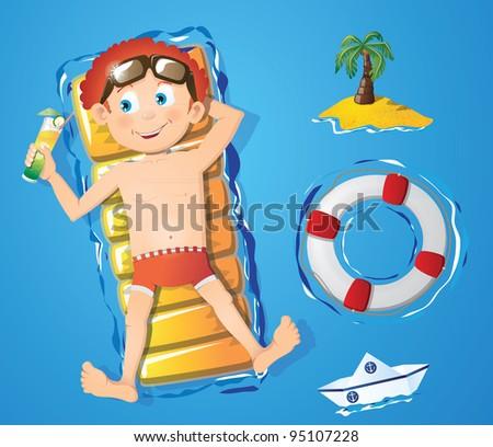 Water fun - boy - stock vector