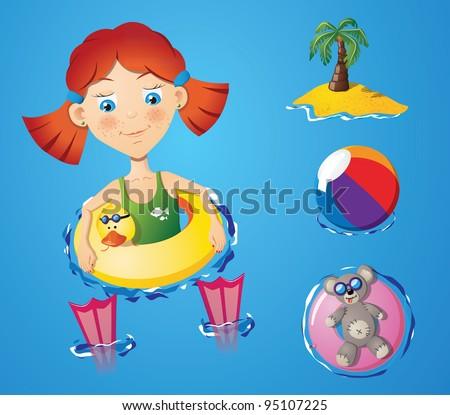 Water fun - girl - stock vector