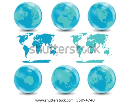 Water Globes Collection Vector isolated on white - stock vector