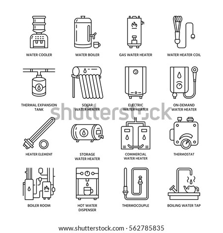 Water Heater Boiler Thermostat Electric Gas Stock Vector