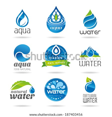 Water icon set, water design elements. - stock vector