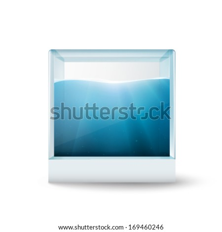 water in a glass cube - vector illustration - stock vector