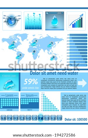 Water infographics. Information Graphics.UI elements. Vector illustration. - stock vector