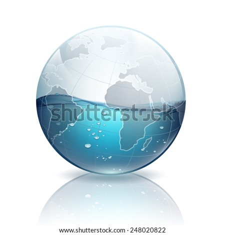 water inside the planet earth - stock vector