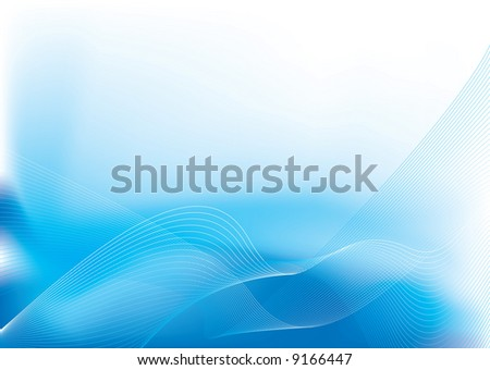 Water inspired flowing background in blue and white - stock vector