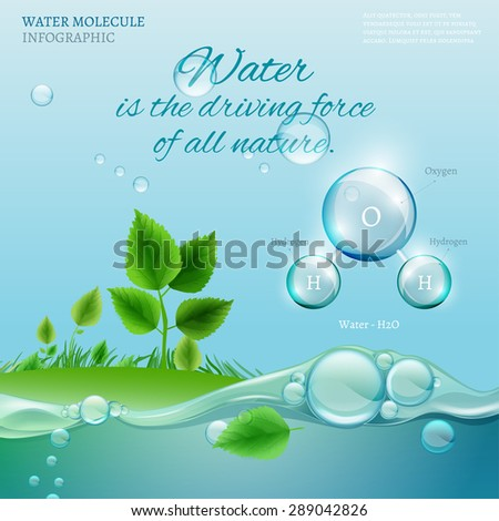 Water is the driving force of all nature. The illustration of bio infographics with water molecule in transparent style. Ecology and biochemistry concept. Natural concept with typography quotation. - stock vector