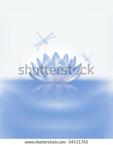 Water Lily and Dragonflies - stock vector