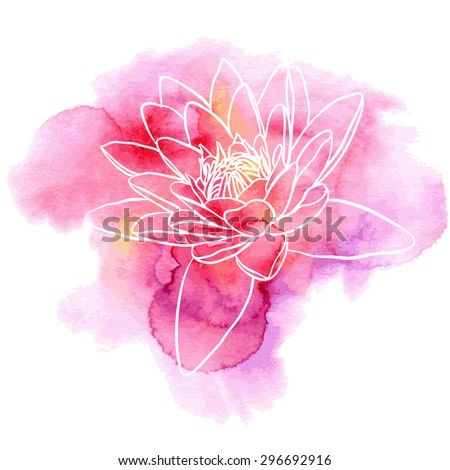 Water lily flower on a red and purple watercolor background. Decorative floral illustration