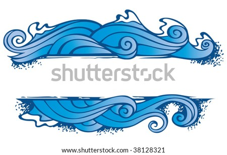 Water, one of the four elements of nature in the shape of ornamental frame, vector illustration - stock vector