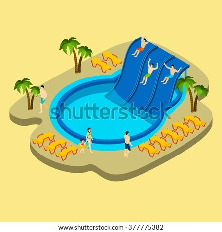Water park and swimming with palms and chaise lounges on yellow background isometric vector illustration  - stock vector