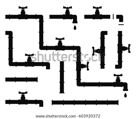 water pipes taps vector silhouette stock vector 603920372 shutterstock rh shutterstock com vector pipe lighter victor pipes