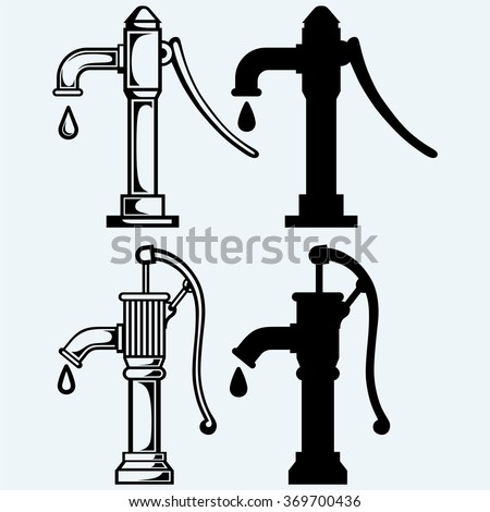 Water pump. Isolated on blue background. Vector silhouettes - stock vector