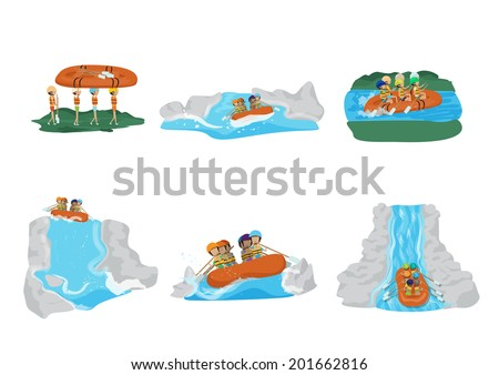 Water Rafting Set - Isolated On White Background - Vector Illustration, Graphic Design Editable For Your Design - stock vector