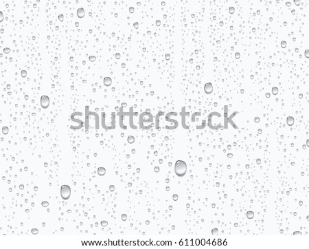 Water rain drops or steam shower isolated on white background. Realistic pure droplets condensed. Vector clear vapor bubbles on window glass surface for your design