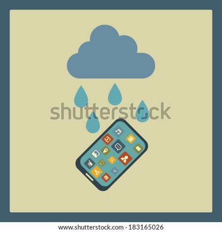 Water resistant smartphone concept illustration. Eps10 vector illustration. - stock vector