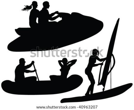 water rides fun silhouettes - vector - stock vector