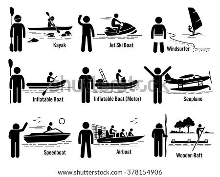 Water Sea Recreational Vehicles and People Set. - stock vector