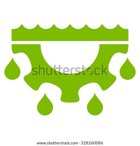 Water Service vector icon. Style is flat symbol, eco green color, rounded angles, white background.