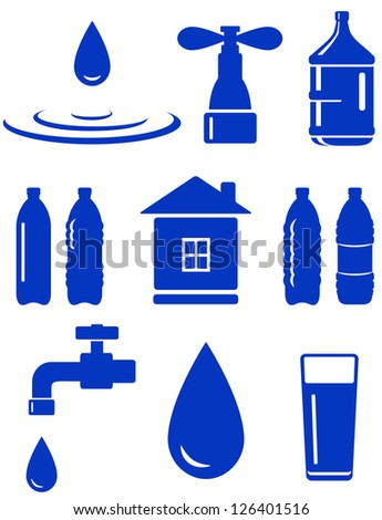 water set of icon with house, faucet, drop, bottle on white background - stock vector