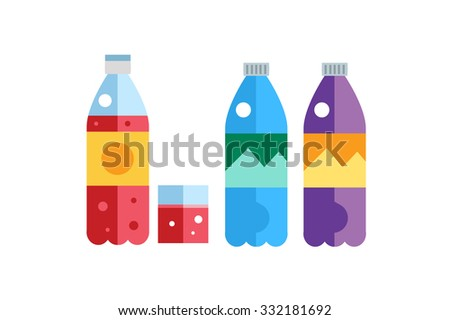 Water, soda and juice or tea bottles vector Illustration. Set of vector bottles icons. Clean water, fresh juice, nature drinks.Water bottle isolated.Soda bottle vector icon. Drinks bottles.Drink icons - stock vector