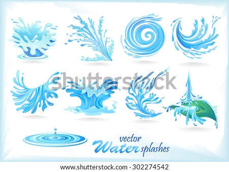 Water Splash Patterns - stock vector