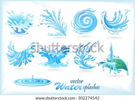 Water Splash Patterns - stock vector
