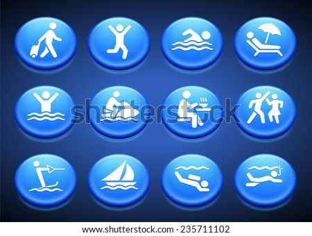 Water Sport and Recreation on Blue Round Buttons