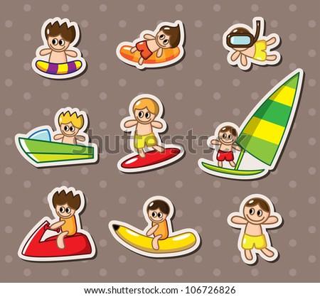 water sport stickers - stock vector