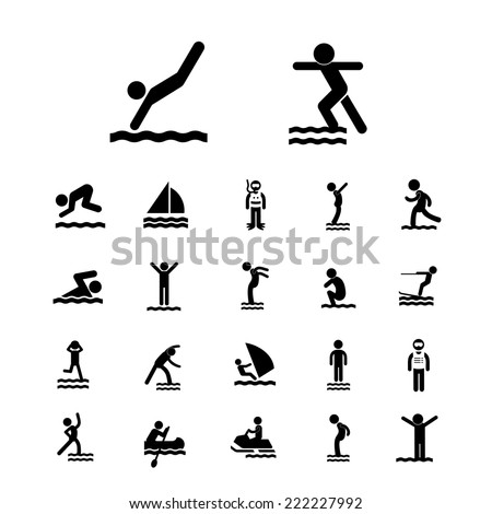 water sport vector icon set