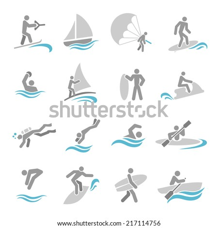 Water sports icons set with rowing rafting swimming people isolated vector illustration - stock vector