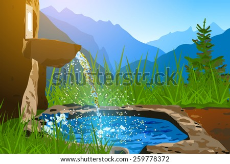 Water spring on Alps mountains background. EPS 10 format. - stock vector